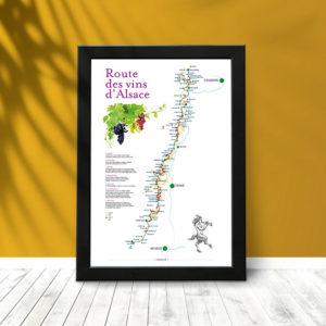 Route des vins d'Alsace (poster encadré)